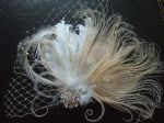 Bridal Fascinator White Cream Champagne Peacock Goose Nagoire Feathers Crystal Brooch Veil Rustic Wedding
